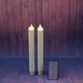 Set of 2 8 Inch Ivory Moving Flame Battery Operated Taper Candle