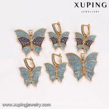 64213 wholesale turkish jewelry supplies fashion 18k colorful butterfly type gold plated jewelry sets