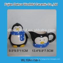 Hochwertiger Keramik-Pinguin-Zucker und Sahne-Set