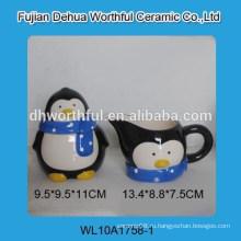 Сахар и сливочный набор из высококачественного керамического пингвина