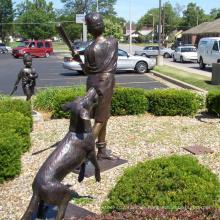 fundición de bronce perdió estatua de niño de béisbol de cera de fundición para la decoración del hogar