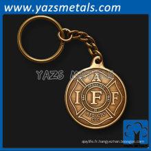 Porte-clés en métal militaire en laiton de haute qualité sur mesure
