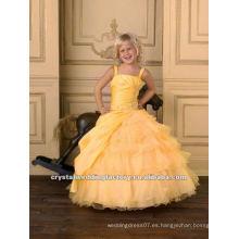 El amarillo caliente de la venta appliqued el vestido rebordeado acanalado acanalado del vestido de bola los vestidos por encargo de las muchachas viste CWFaf4878
