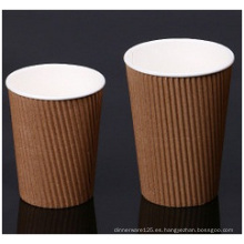 Brown Ripple Wall Paer Cups. Tazas de papel doble corrugado