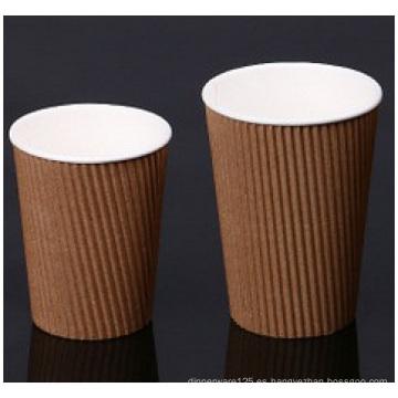 Brown Ripple Wall Paer Cups. Tazas de papel doble corrugado