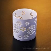Castiçal de luz de chá de cerâmica branca fosca