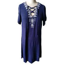 Vestido de mujer encantador de verano de estilo popular azul con cuello redondo