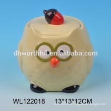 Прекрасный керамический горшок для совы с крышкой
