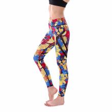 Venta caliente de la aptitud de la señora transpirable orden de encargo impresa digital de las mujeres desgaste del deporte pantalones de yoga polainas