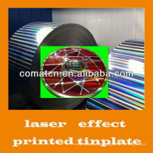 Laser effect printed tinplate for paint cans