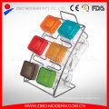 Colored Plastic Lid Glass Condiment Set