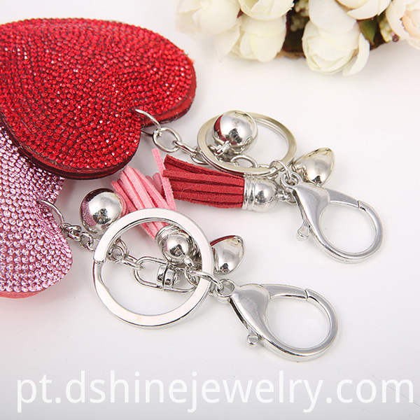 Rhinestone Leather Keychain With Tassel Pendant