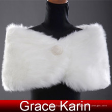 Grace Karin diseño elegante de invierno blanco falso piel de boda chales nupciales CL2616