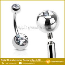 Anillo de botón de vientre de bola de gema claro doble internamente de acero quirúrgico