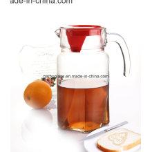 Chaleira de vidro de vidro de 1.8L com tampa vermelha