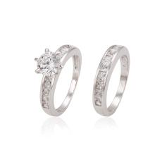 12870 xuping delicada moda estilo real rodio color circón combinación anillo de bodas conjunto