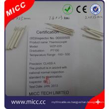 Sensor de película delgada de 3.2 mm * 25 mm de cerámica Pt100 rtd