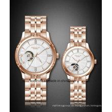 Neue spezielle Skeleton Zifferblatt mit Diamant Mode Paar Armbanduhr