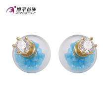 E-164 Xuping Fashion 14k Plaqué Or CZ Diamant Imitation Bijoux Perle Boucle D'oreille En Verre