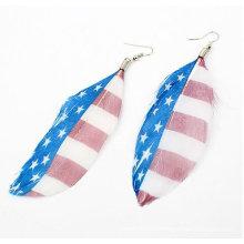 Venta al por mayor bandera de los Estados Unidos pluma pendientes joyas FEA25