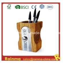 Suporte grande de caneta em forma de Sharpener de madeira