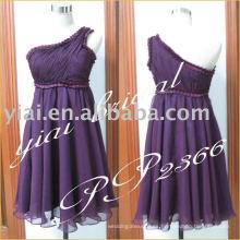 Gasa atractiva 2011 de la fabricación un hombro rebordeó el diseñador corto PP2366 del vestido de noche
