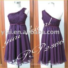 Производство 2011 Sexy шифон одно плечо бисером короткое вечернее дизайнерское платье PP2366