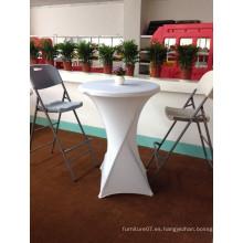 80cm Muebles al aire libre alta parte superior plástica redonda plegable mesa y silla con patas altas