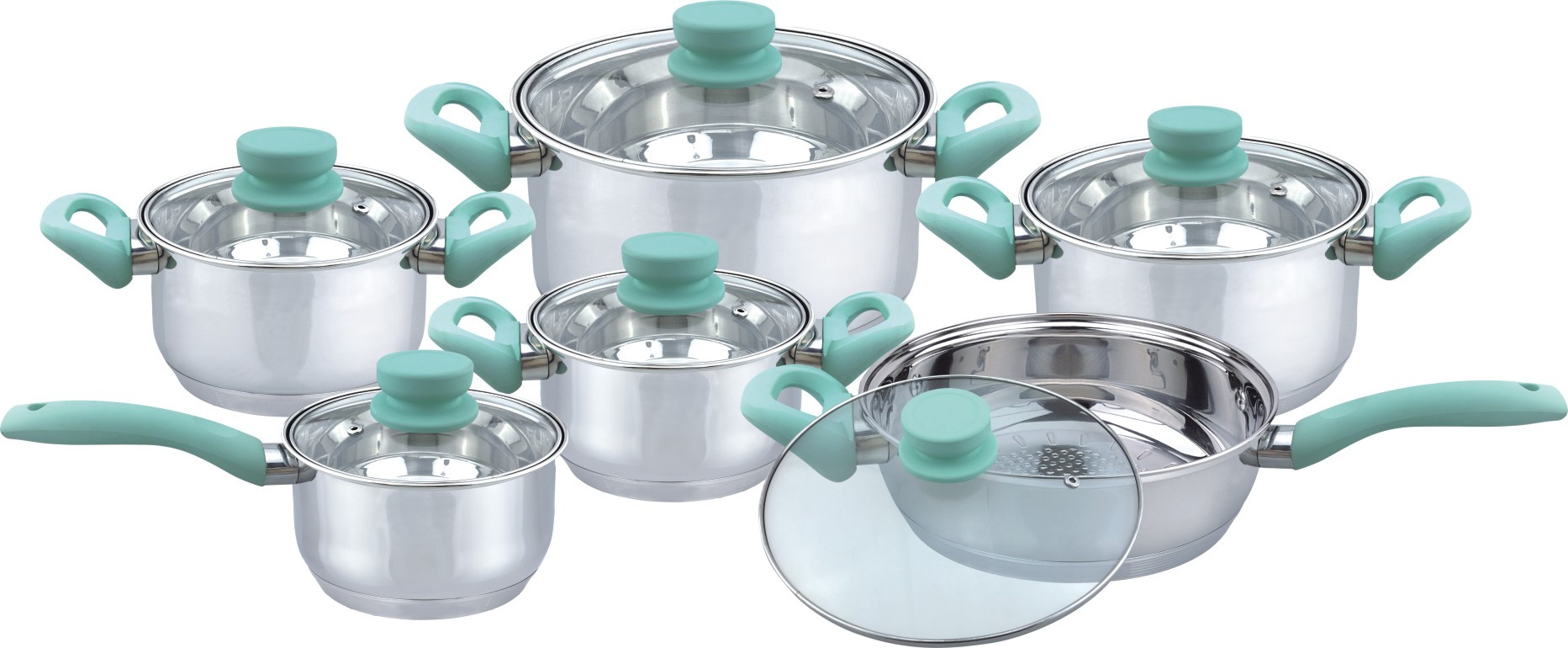 Green soft touch cookware set