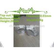 Pequeñas hojas de aluminio de aluminio redondo / plano para hornear tarta de huevo / tarta / pastel de queso hornear