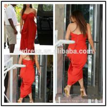 Red Chiffon Sweetheart Neckline TeaLength Custom Made Red Carpet Celebration Robes KD008 kollashian kollection