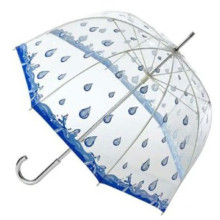 Rain Printing Transparent Straight Umbrella (BD-35)