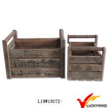 Caja de madera antigua francesa de moda