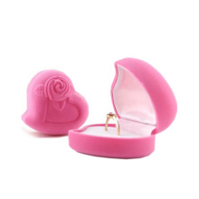 Chins manufacturer custom Jewellery Box Velvet Pretty Flocked Heart Shaped jewelry Ring Box