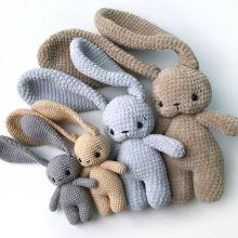 Baby Appeasing Stuffed Animal Long Ear Bunny Crochet Animal Toy Handmade Cotton Baby Toy Crochet