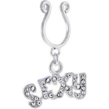 Crystalline Gem Sexy Word Clip On Nipple Ring
