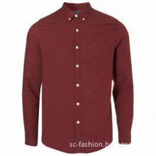 Burgundy Flannel Cotton Men's Casual Long-sleeved Shirt, OEM and ODM Orders are Welcome