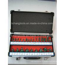 Power Tool 24 PCS Router Bit Set avec boîtier en aluminium Package