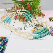 Gets.com collar de perlas de agua dulce turquesa de 3 capas