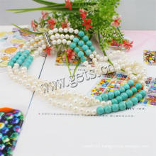 Gets.com 3 layer Turquoise Freshwater Pearl Necklace