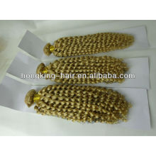 24inch kinky bouclés frêne blond brésilien cheveux humains armure