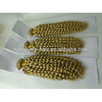 24inch kinky curly ash blonde brazilian human hair weave