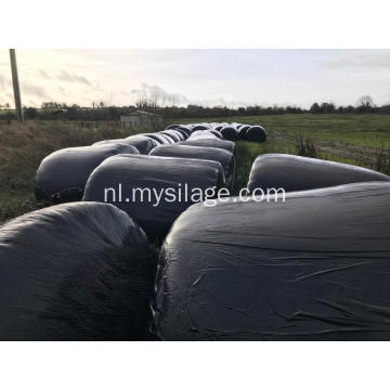 Black Silage Bale Wrap in Grass