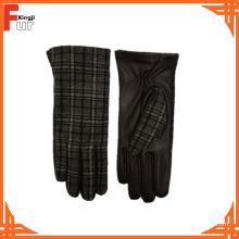 Guantes de cuero de piel de oveja del color marrón oscuro de la venta caliente