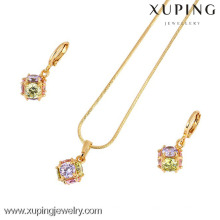 60862-Xuping Simple Design Jewelry Set Fake 18k Joyas de oro