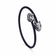 Biker Jewelry Black Wire trenzado con doble Lion Head Bangle ajustable pulsera elástica