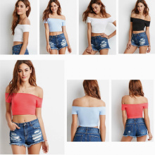 off-The-Shoulder Short Sleeves Crop Top