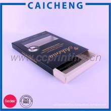 Caja del cajón del papel de almacenamiento de la peluca del cabello humano de la hoja del estampado en caliente