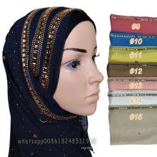 Лучшие продажи мусульманских женщин глава дубайской алмазной шарф хиджаб мусульманский платок мода драгоценный камень камень хлопок хиджаб