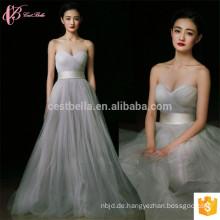 2017 graues langes Satin-neues Ankunfts-preiswertes weg-Schulter-Guangzhou-Brautjunfer-Kleid